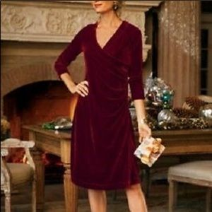 Soft surroundings velvet dress faux wrap ruched